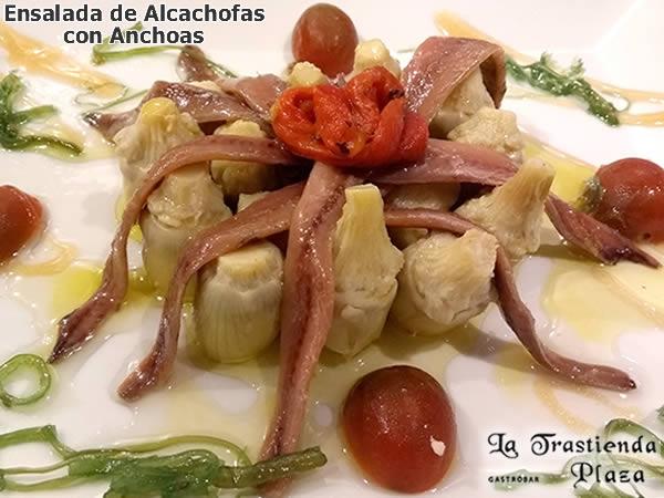 Corazones de alcachofas con anchoas del Cantábrico